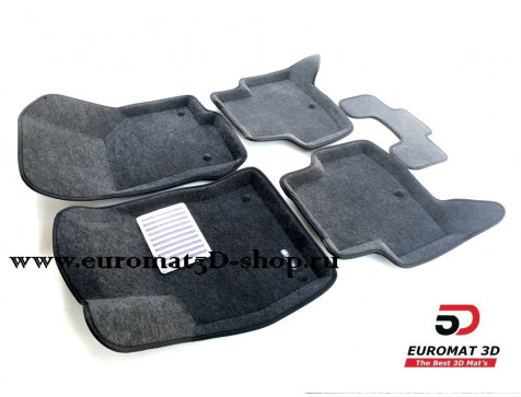Текстильные 3D коврики Euromat3D Lux в салон для Audi A3 (2014-) № EM3D-004507G Серые